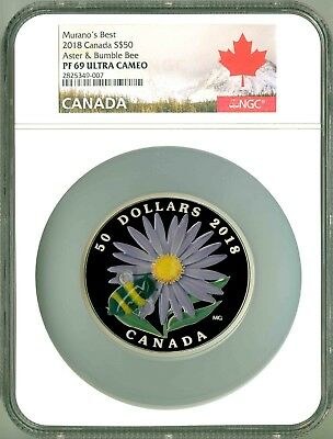 2018 Canada S$50 5 Oz. Murano's Best Aster & Bumble Bee Murano Glass NGC PF69 UC