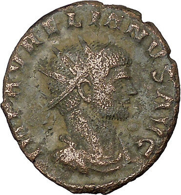 Aurelian  receiving wreath from woman 270AD Ancient Roman Coin  i37939
