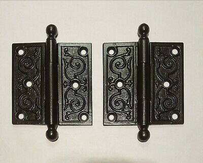 "Antique Victorian Cast Iron Door Hinges 3.5""×3.5"" Eastlake Style Canonball Pin"