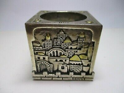 Antique 925 Sc Sterling Silver Candle Holder Jerusalem Cube Home Decor