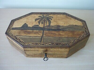 Antique Tunbridge Ware Box - House Clearance - Octagon Shape - Worth A Look !!