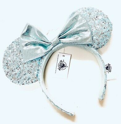 Disney Parks Arendelle Aqua Blue Frozen Sequin Headband Minnie Ears NEW