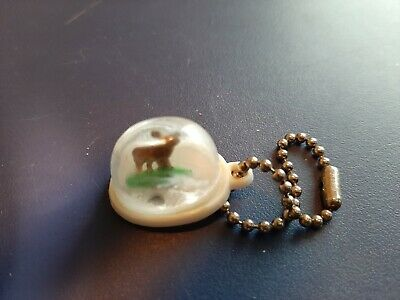 Vintage Gumball/Vending Machine Rare Deer In A Snow Globe Charm On A Chain