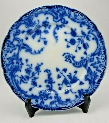 """Antique W H Grindley Blue Flow China Plate """"Marie"""" Dinner Plate England"""