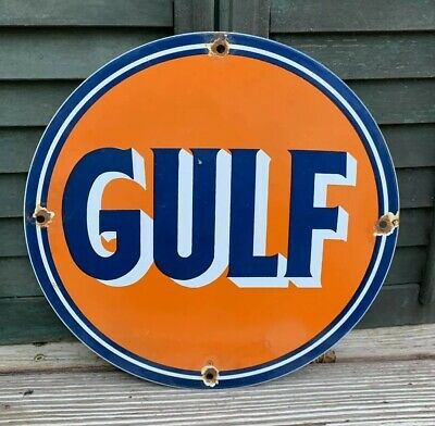 Vintage Gulf Gasoline Porcelain Sign Gas Service Station Pump Plate Motor Oil