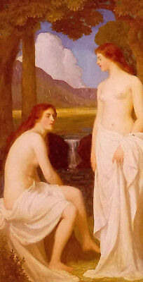 Dream-art Oil painting john cooke - bathing nymphs young girl beauty landscape