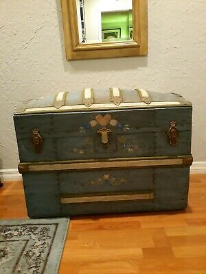 1881 Custom Antique Steamer trunk Dome top(paint Original to era)