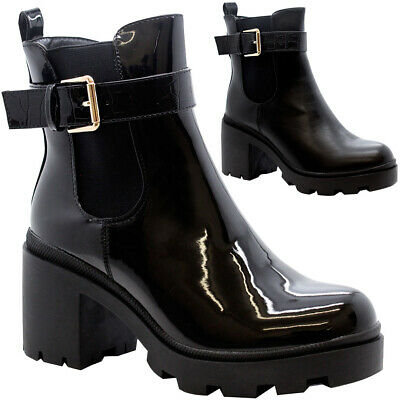 Womens High Top Chelsea Ankle Boots Ladies Block Heel Chunky Platform Shoes Size