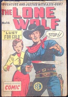 THE LONE WOLF # 16 1950's GOLDEN AGE AUSTRALIAN DRAWN  COMIC