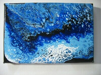 "Original acrylic pour painting 4"" X 6""stretched canvas abstract"