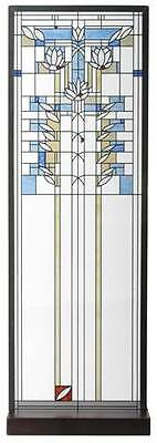 """FRANK LLOYD WRIGHT """"WATERLILIES"""" STAINED ART GLASS PANEL DISPLAY w STAND HANGING"""