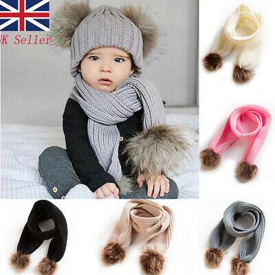 UK Newborn Kids Baby Boy Girl Fur Pom Hat Winter Warm Knit Bobble Beanie Scarf