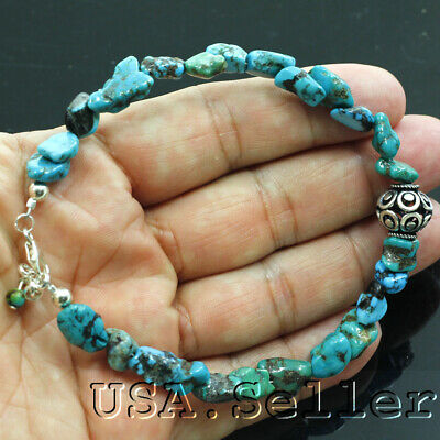 62CT Natural Blue Kingman Turquoise Nugget Bead Sterling Silver Bracelet 7.75""