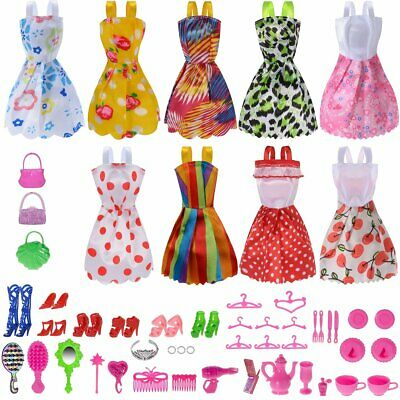 50 Pack Set Barbie Doll Clothes Party Gown Outfits Shoes Accessories Dolls Girls