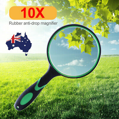 10X Handheld Magnifier Reading Magnifying Glass Lens Jewelry Loupe 50mm-100mm