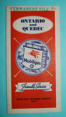 MINT COND. 1930s ONTARIO & QUEBEC FOLD ROAD MAP MOBILGAS WHITE STAR REFINING CO