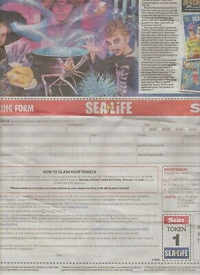 2 Sea Life Tickets - 10 Tokens and Booking Form for You to Claim 2 Free Tickets