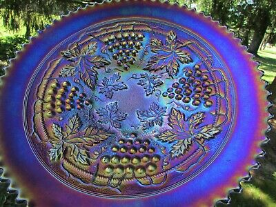 Northwood~STIPPLED~GRAPE & CABLE ANTIQUE CARNIVAL GLASS PLATE~PURPLE~SPECTACULAR