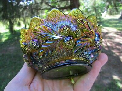 Northwood ACORN BURRS ANTIQUE CARNIVAL ART GLASS BERRY BOWL~GREEN~SPECTACULAR!