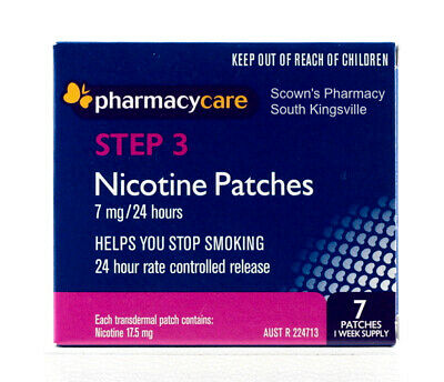 Pharmacy Care Nicotine Patches 7mg 24 Hours Step 3 Quit Smoking Now Amcal Sigma