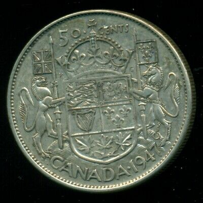 1947 C7R King George VI, Silver Fifty Cent Piece   F31