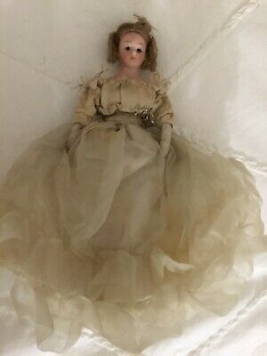 Antique Simon and Halbig Glass Eyed Bisque Doll in Original Costume Circa 1890