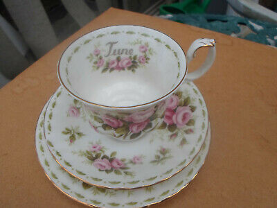 "Royal Albert Flower of The Month Series "" June "" Trio Cup and Saucer / Plate"