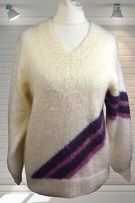 Vintage Abstract Pattern Fluffy Cuddly MOHAIR 1980s NEW WAVE Jumper Med/Large