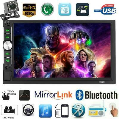 """7"""" inch Double 2DIN Car MP5 Player Bluetooth Touch Screen Stereo FM Radio+Camera"""