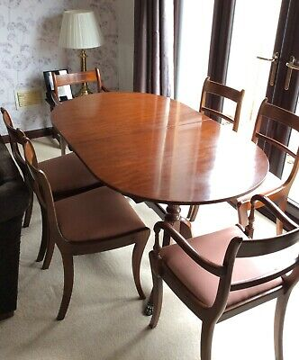 Vintage Mahogany Reproduction Extending Dining Table & Chairs