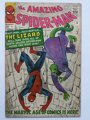 AMAZING SPIDER MAN # 6  US MARVEL 1963 1st LIZARD Stan Lee Steve Ditko VG- br