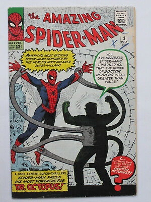 AMAZING SPIDER MAN # 3  US MARVEL 1963 1st Doc Octopus Stan Lee Steve Ditko VG-