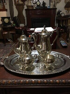 Silver plated Oneida Tea/Coffee set with Tray (Total 5 pieces)