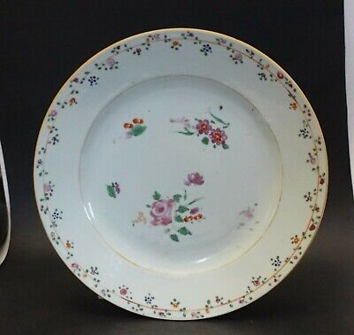 sh16d ANTIQUE CHINESE EXPORT  floral hand painted plate 9""