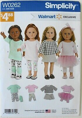 "SImplicity W0262 Walmart Exclusive 18"" Doll Clothes Top Skirts Sewing Pattern"