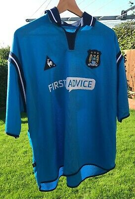 MANCHESTER CITY HOME SHIRT 2002-03 SIZE 50-52 Le Coq First Advice 39 Anelka MK