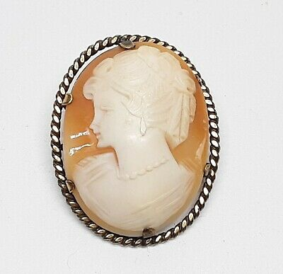 Large Antique  Victorian Carved Shell Cameo Brooch set in 12 ct Rolled Gold