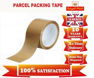 2 Strong Brown Parcel Packing Packaging Tape Sellotape Carton Sealing 50Mm X 66M