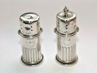 Victorian Solid Silver Sterling Pair Of Salt / Pepper Shakers / Pots London 1897