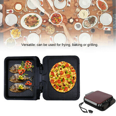 Hot Plate Non Stick Grill Cast Iron Griddle Skillet  BBQ Pizza Maker Electric