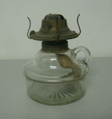 Antique Clear Glass Oil Kerosene Lamp With Handle and Eagle Burner