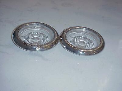 Pair Of Sterling Silver Rimmed & Glass Coasters Or Ashtrays Marked S I C