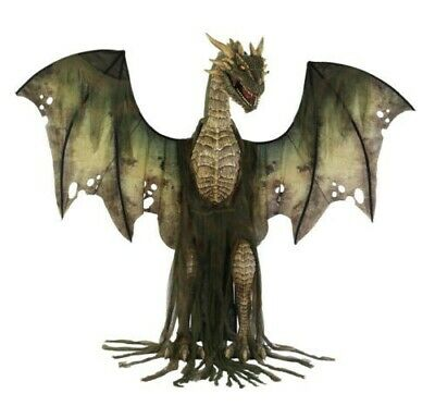 Halloween Life Size Animated 7 Ft Dark Green Winter Forest Dragon Prop