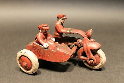 Antique Vintage Style Cast Iron Toy Motorcycle with side car 2 riders