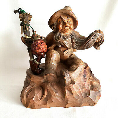 "10"" Austrian Hand Carved Tree Root Dwarf Bearded Gnome Folk Art Holder & Pipe"