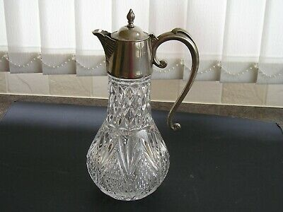 Heavy Vintage Glass Decanter/Claret Jug.silver Plated Spout...