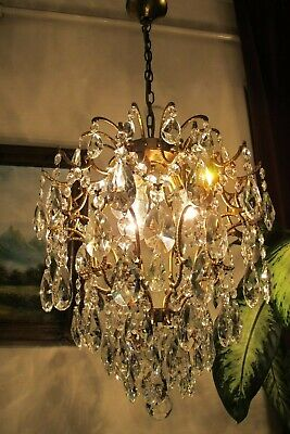Antique Vintage French  CAGE Style Crystal Chandelier Lamp Light  LUSTRE 1940's.