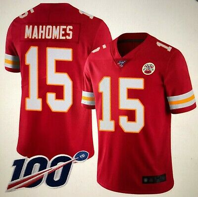 Chiefs #15 Patrick Mahomes Mens Stitched Red 100th Vapor Untouchable Jersey XL
