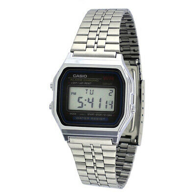 CASIO A159W DIGITAL ALARM CHRONOGRAPH QUARTZ GENTS classic SILVER RETRO WATCH
