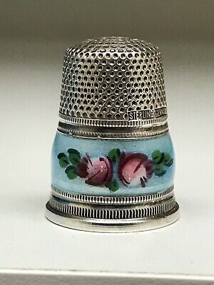 Antique Enamel Guilloche Floral Sterling Silver Thimble Germany Size 5
